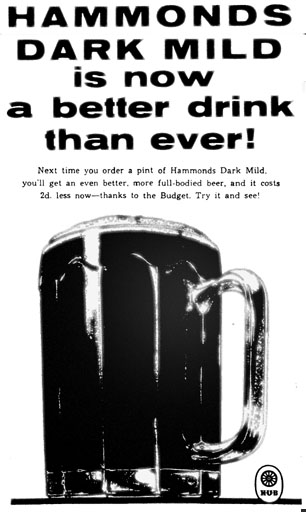 A 10-sided pint beer glass seen in an advert from the 1950s