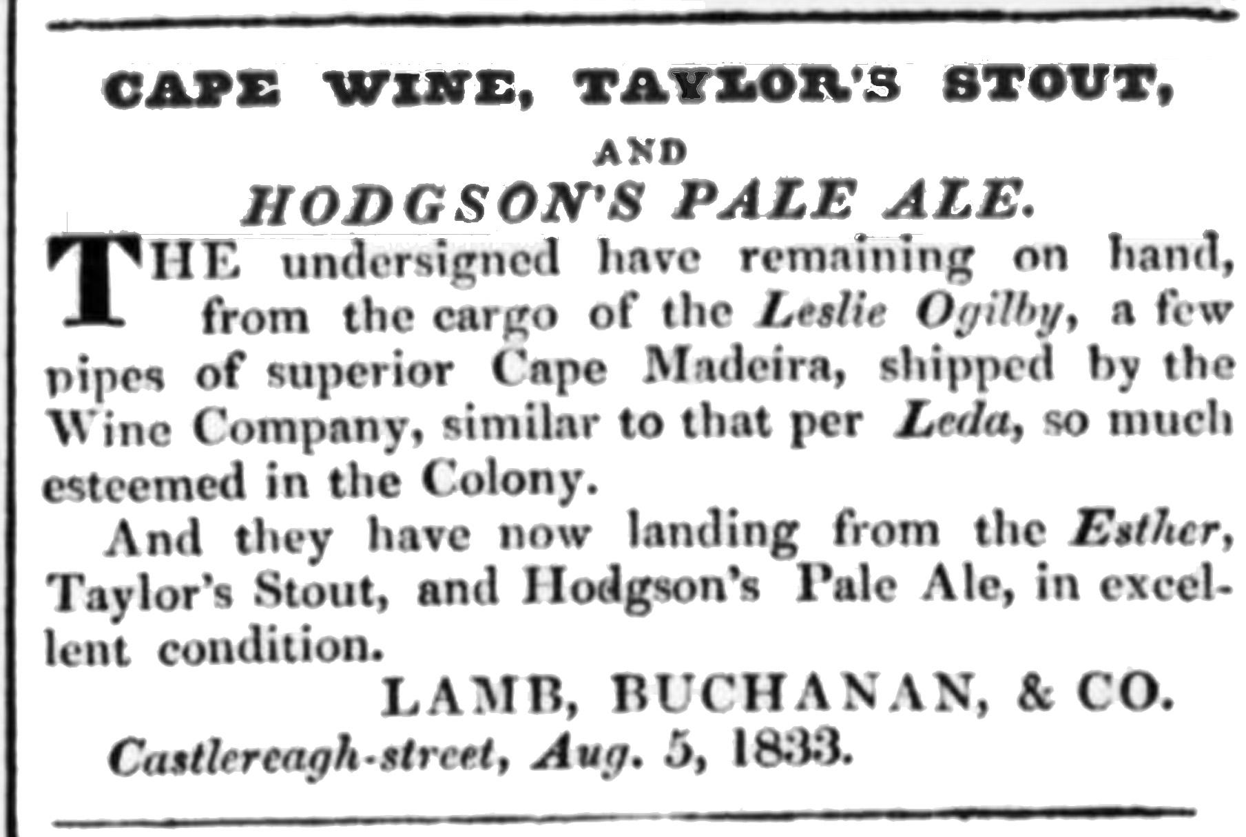 Primeira referência a Pale Ale de Hodgson