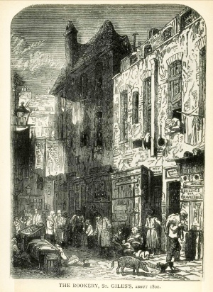 A street inside the St Giles 'Rookery' about 1800