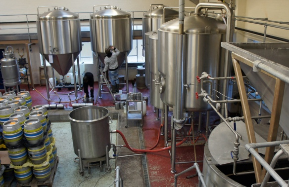 The brewery copper and fermenting vessels