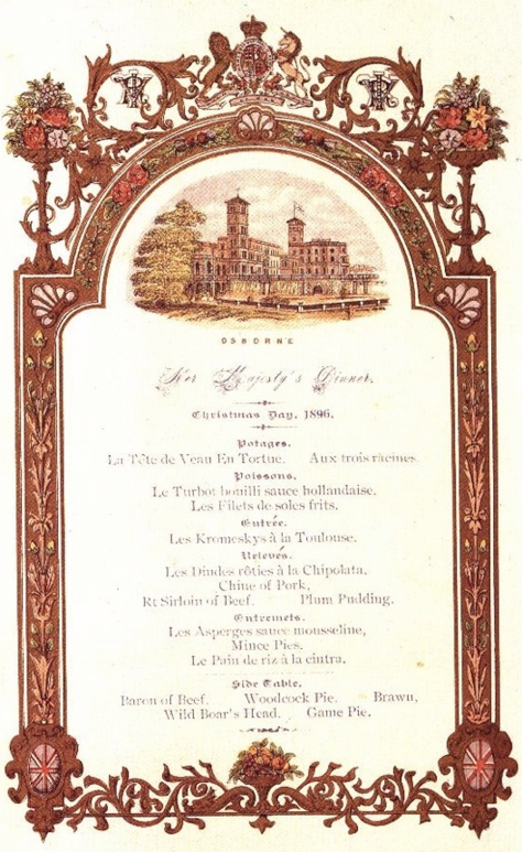 Royal Xmas menu 1896