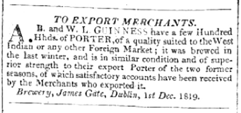 Guinness WI Porter ad Liverpool Mercury 1819
