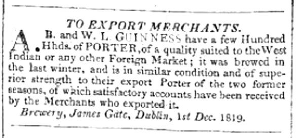 Guinness WI Porter ad Liverpool Mercury 1819