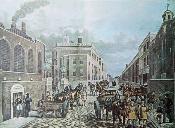 The Brick Lane brewery 1842. Note the gentleman brewer at the brewery door in his apron, the draymen, and the railway bridge in the distance