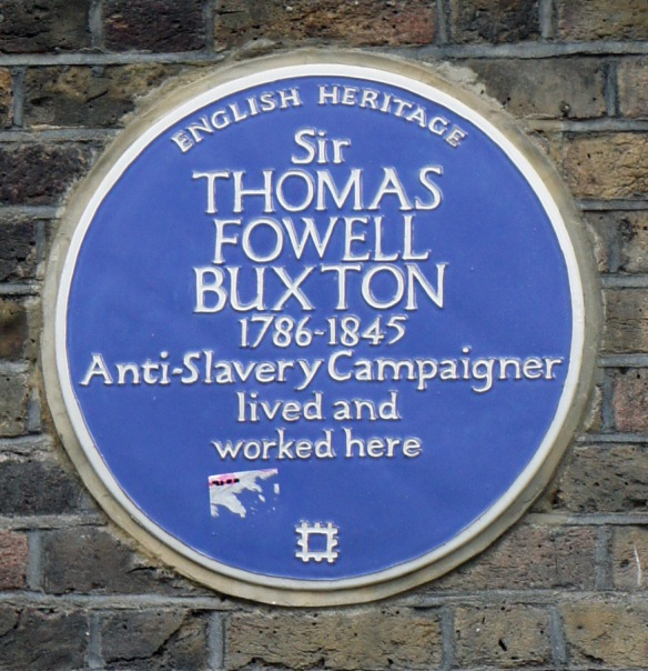 The plaque to Sir TF Buxton on the wall of the brewery in Brick Lane