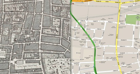 Maps of Brick Lane, 1744 and 2013. Note the roads that have disappeared