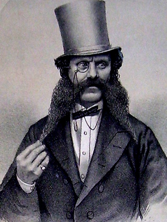 Tom Maclagan, magnificantly bewhiskered music-hall performer of the song 'Bitter Beer', 1864