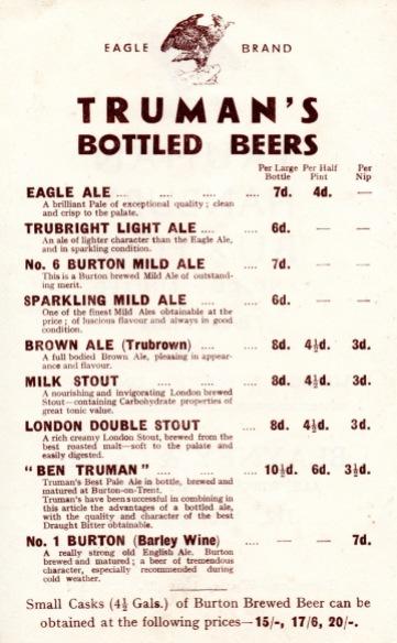 Off-sales price list 1930s
