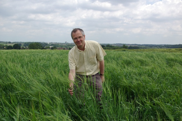 Dr Chris Ridout growing Chevalier barley at the John Innes Centre