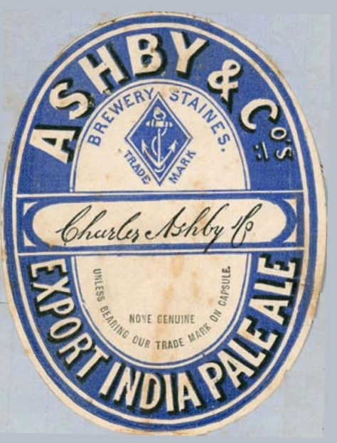 A label registered in Australia by Ashby's of Staines, Middlesex, England in 1876