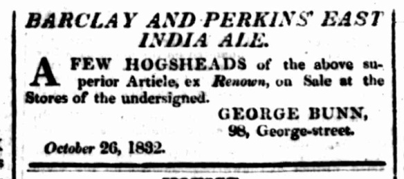 Barclay and Perkins East India Pale Ale, Sydney Herald, October 29 1832