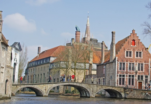 The Halve Maan brewery from the canal. The louvred clerestory at the top is home to the copper koelschip