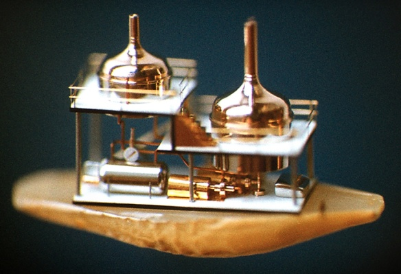 A model of a brewery constructed on a half of a barley seed made by Ukrainian miniaturist Nikolai Syadristy