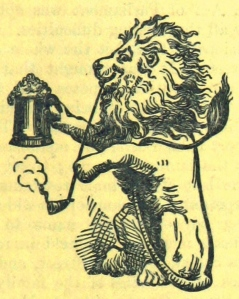 Pint-holding lion