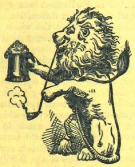 Pint-holding lion