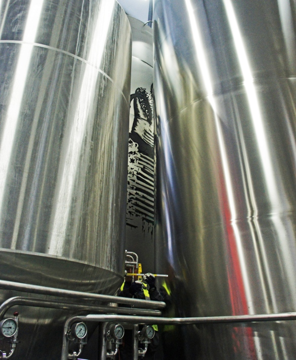 Among the fermenting vessels at the Ellon brewery