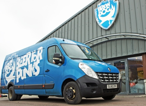 Delivery vans for Punks: outside the Ellon brewery entrance