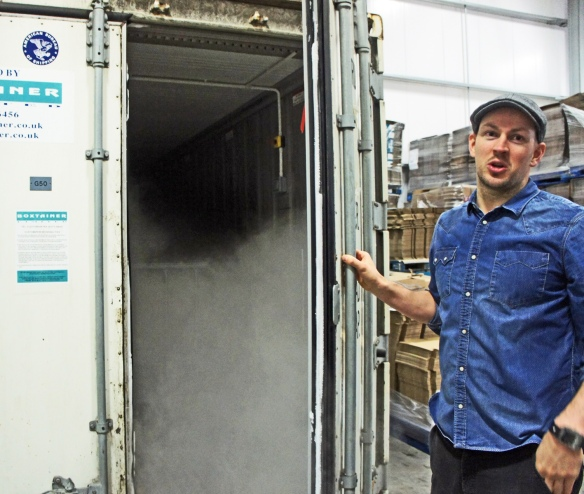 Where the Bismark is sunk: James Watt shows off the freezer container where beers such as Sink the Bismark are freeze-distilled for months to get to the high levels of alcohol required