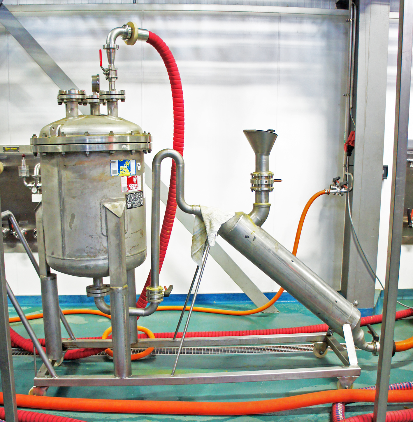 The CO2-powered hop cannon, which fires 20kg of dry hops at a time into the beer conditioning tanks