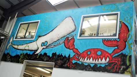 The mural on the wall of the Ellon brewery lab office