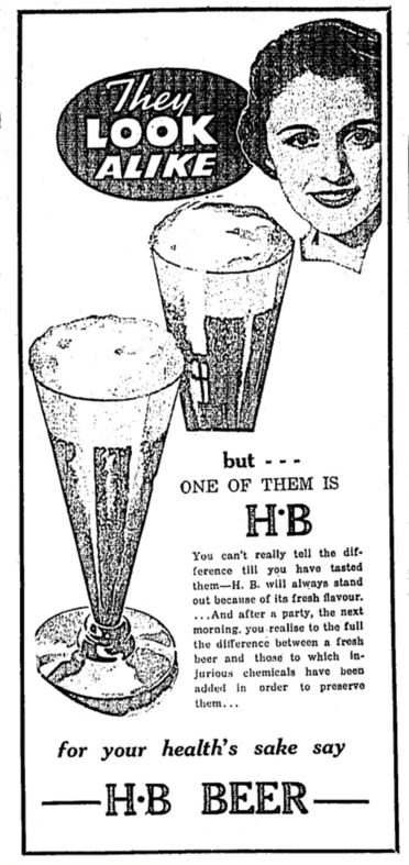 HB Beer ad 1935