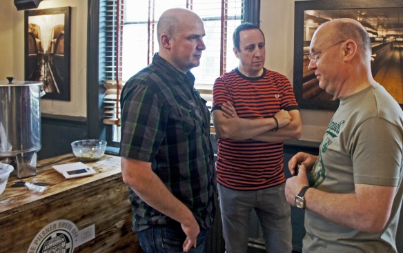 """Paddy Johnson (right) tells Andy Parker (left) 'Sorry, mate, no Sorachi Ace"""", while Justin Mason (centre) looks glum"""