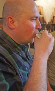 Andy tastes the wort: at least it's lemon-coloured