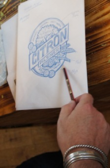 The design for the label for Citron Pilsner, knocked up at amazing speed by an extremely clever guy whose name I failed to record