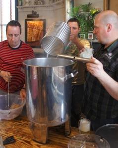 Lowering in the wort cooler