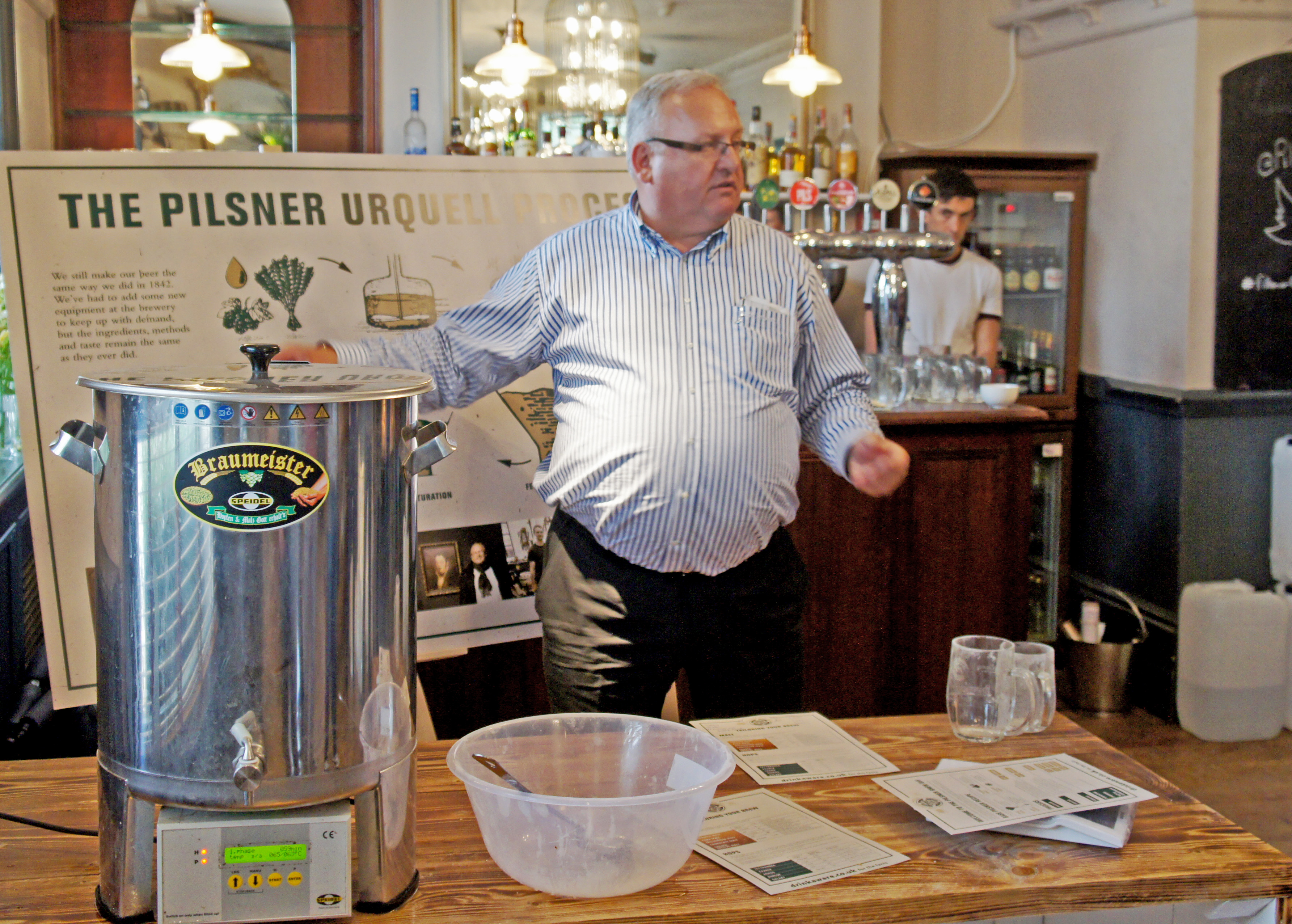 Václav Berka explains the secrets of brewing Pilsner Urquell in the upper room at the White Horse, Parsons Green