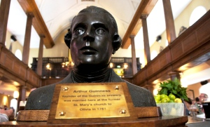 Bust of Arthur Guinness in the Church restaurant and bar, Mary Street, Dublin