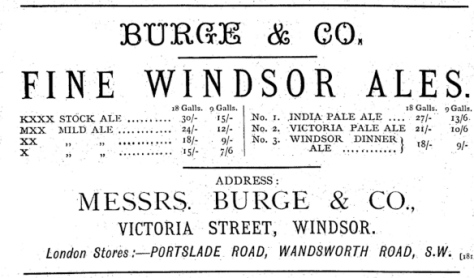 Burge & Co Windsor KXXX stock ale from 1885 – that's K for keeping all right, and M for mild on the MXX mild ale