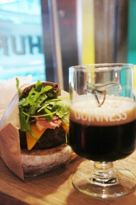 Foreign Extra Stout-marinated burger with Foreign Extra Stout