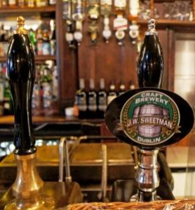 That rare sight, a working handpump in an Irish bar, in this case JW Sweetman, a brew-bar in Dublin