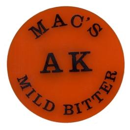 McMullen's AK Mild Bitter pumpclip from the 1950s