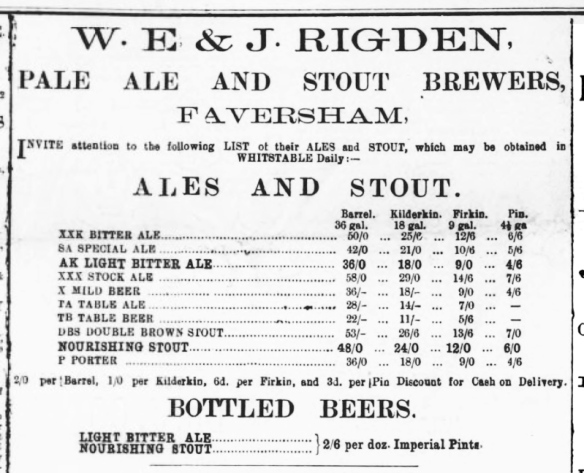 Whitstable Times and Herne Bay Herald 1897 – XXK and AK, bitter ales, not stock ales