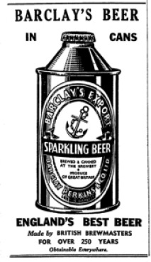 Canned beer from Barclay Perkins in 1940