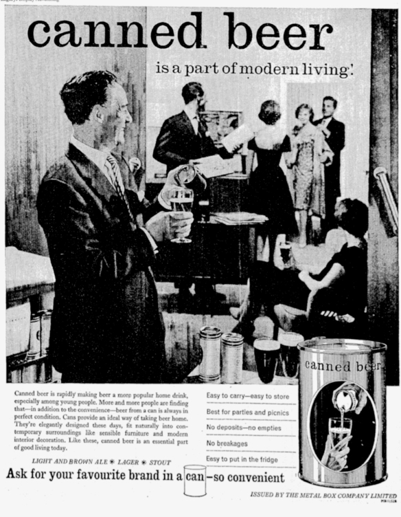 An advertisement from 1958 for canned beer