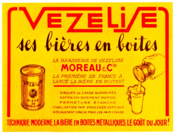 An advertisement from 1933 for canned beer