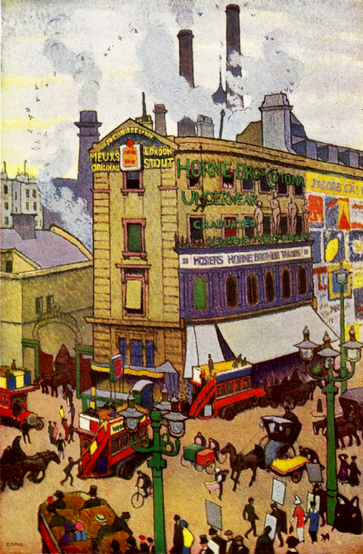 The Meux brewery at the corner of Tottenham Court Road and Oxford Street exactly 100 years ago, in 1914