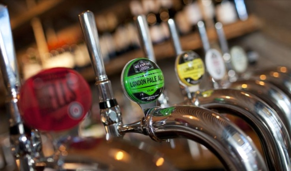 Craft beer taps at the Narrow Boat in Islington, a Young's pub
