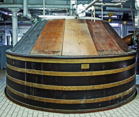The 1914 mash tun at the Shepherd Neame brewery, refurbished 1949, still in use