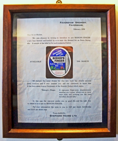 Framed letter in the Shepherd Neame sample room introducing the brewery's newest beer in 1958, Bishops Finger.