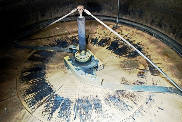 Inside the 1914 mash tun at the Faversham brewery, showing the slotted floor plates
