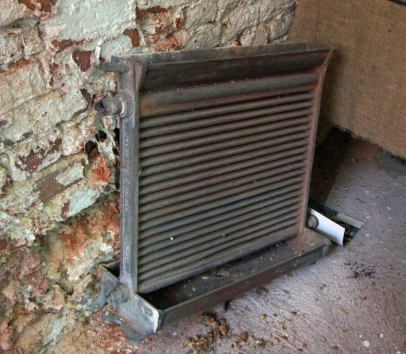 """An old radiator-style """"counterflow"""" wort cooler, late 19th or early 20th century, discarded"""