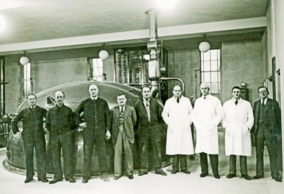 The first mash at the new Greene King brewhouse, Bury St Edmunds, 1939