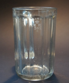 Ten-sided one-pint glass mug stamped 'ER 301' for West Yorkshire, again probably by Bagley & Co. Is the 'ER' for Edward VIII? The base of the glass has bubbles in it, and looks more primitive than similar glasses stamped EIIR
