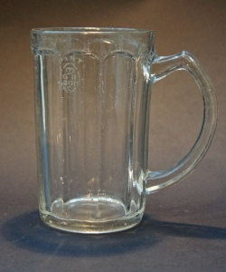 A ten-sided pint glass mug stamped 'GR 301' for West Yorkshire, very likely by Bagley & Co of Knottingley, with 'British Made' in the base