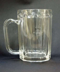 A ten-sided glass pint mug stamped '478' for St Helens and dated 1964 (dates were used alongside Official Stamp Numbers between 1961 and 1969), manufactured by Ravenhead – one eof the last ten-sided beer glasses to be made