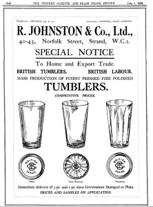 An adAd for beer tumblers from 1922